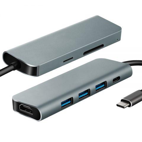 Parrot 7 in 1 USB C Hub (HDMI x 1, USB 3.0 x 3, DP x 1, SD x 1, TF x 1)
